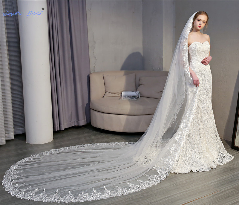 Sapphire Bridal 1 Layer Top Quality Lace Edge Wedding Veil 3*3.5m Ivory Long Train Bridal Veil with Comb Wedding Accessories