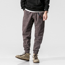 Harajuku Harem Succinct Sashes Decorate Full Length Men Pencil Pants 2018 Autumn Japan Casual Loose Cotton Joggers Sweatpants