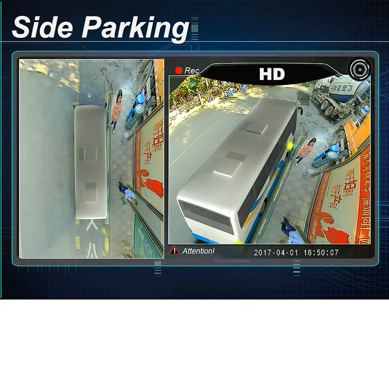 3D HD Surround View Monitoring System 360 Degree Driving Panorama Park Bird View for Truck/Bus 4 Metal Cameras 4-CH DVR Recorder