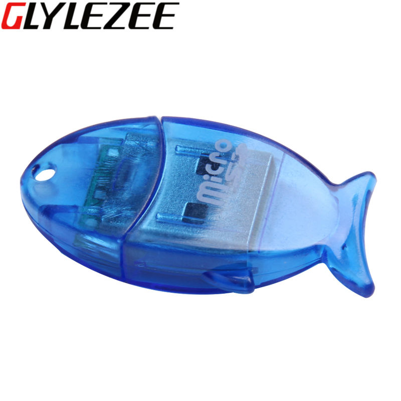 Glylezee Şeffaf Kart Okuyucu Küçük Balık Şekli Micro SD T-Flash Hafıza Kartı Okuyucu kadar 64 GB