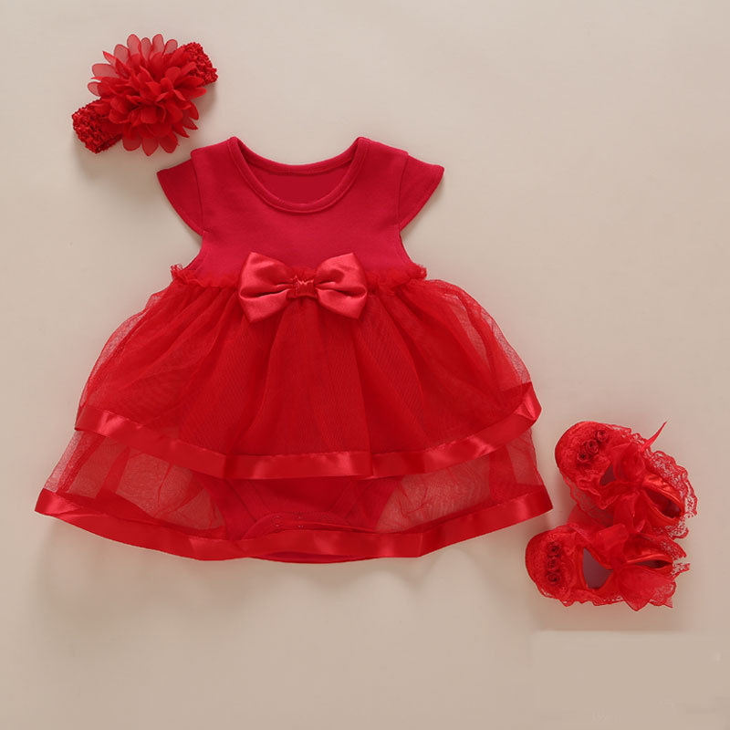 a1a10f761488 2019 New born Baby Girl Dress Romper Summer Kids bow Tulle Princess dress  Wedding For Girl 0 1 2 Year Birthday Christening Dress-in Dresses from  Mother ...