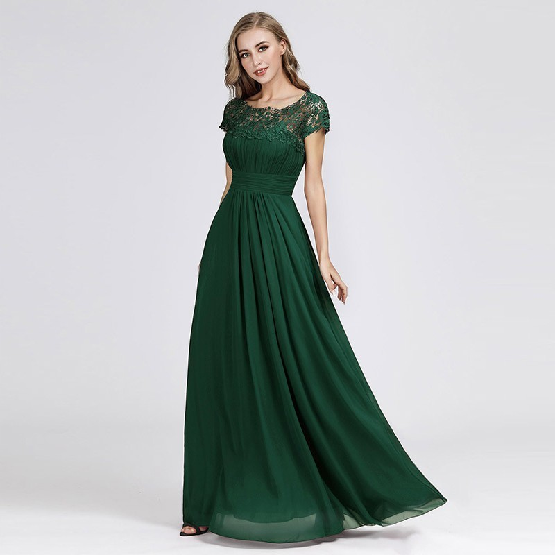 Elegant Dark Green   Bridesmaid     Dresses   A-Line O-Neck Lace Vintage Women   Dresses     Dresses   For Wedding Party Vestido Madrinha 2019