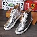 New Arrival Mens British Styles High Top Gold Leather Shoes Brogue Carved Lacing Fashion Boot Silver Short Ankle Boot 4Colors