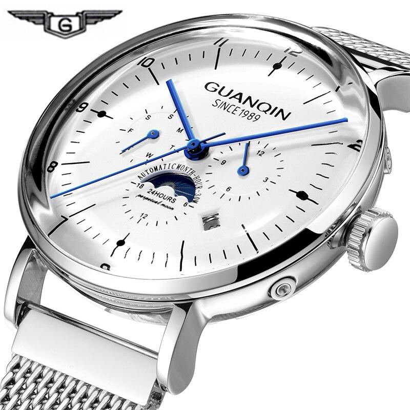 2019 GUANQIN Tourbillon, reloj automático impermeable, reloj de pulsera esqueleto para hombre, reloj mecánico 3D Curver hombres Guanqin automático Reloj Mecánico Tourbillon Esqueleto reloj de deporte impermeable reloj automático reloj hombre reloj masculino