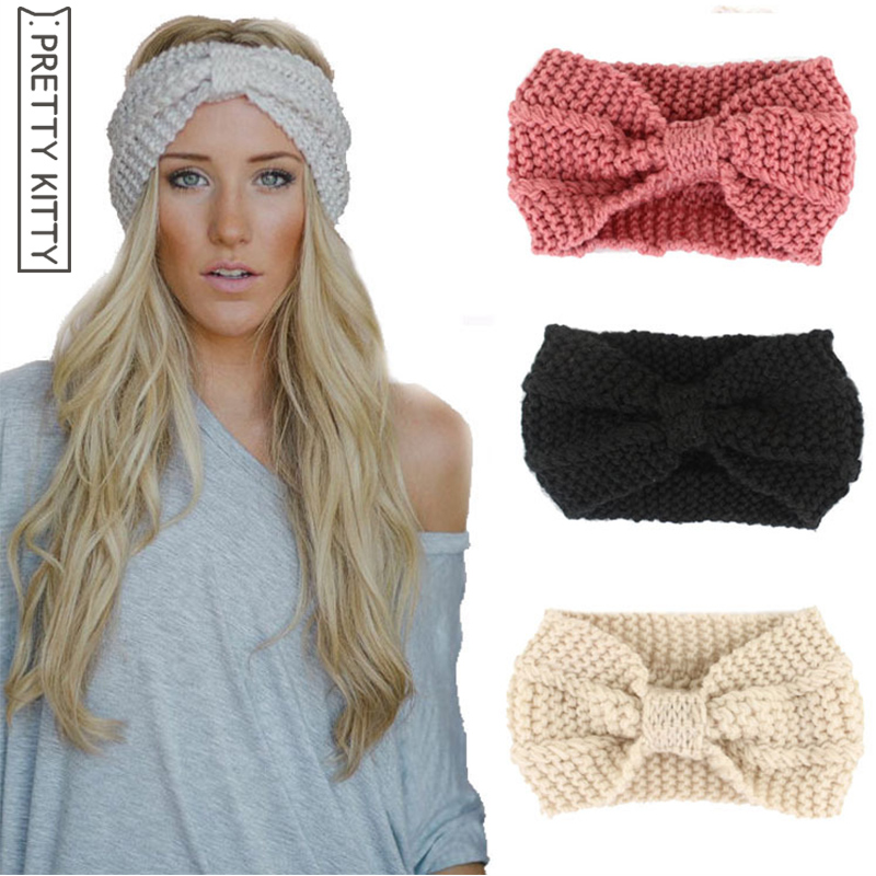 pretty Kitty Women Hairband Crochet Bow Knot Turban Knitted Head Wrap Winter Ear Warmer Headband Hair Band Accessories