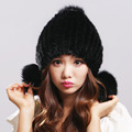 100% Real Mink Fur Hat for Women Winter Knitted Mink Fur Beanies Cap with Fox Fur Pom Poms 2016 New Thick Female Russian Cap