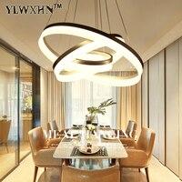 2017 Suspension Luminaire Modern Led Circle Ring Chandelier Light For Living Room Acrylic Lustre Lighting White Sliver 90 260