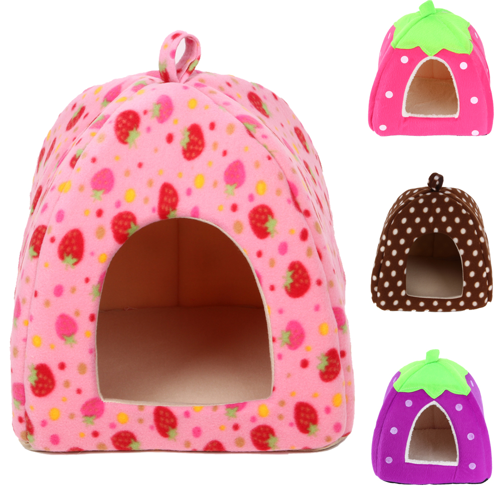 High Quality New Pet Supplies Dog House Soft Strawberry Cat Rabbit Bed House Kennel Doggy Warm Cushion Basket for Puppy Home