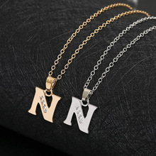 Cursive 26 English Initial Alphabet N name Necklace tiny word Letter monogram charm Metal Engagement necklace