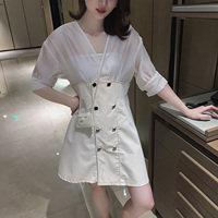 Chiffon Stitch Woven Dresses Summer Half Sleeve Dress Woman Breast Wrap Vintage Women Clothes 2019 Solid