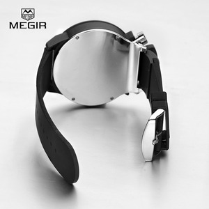 Image 5 - Megir fashion hot mens quartz watches analog chornograph brand wristwatch man silicone band waterproof hour 2004 free shipping