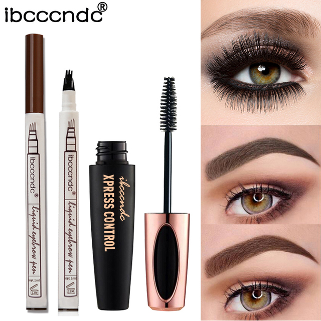 4f41b3688a3 Fashion Eye Makeup 4D Silk Fiber Lash Mascara Thick Rimel 3 Colors  Microblading Eyebrow Tattoo Pen Sketch Liquid Eyebrow Pen Set
