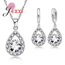 Romantic Women Lady Party Wedding Jewelry Sets 925 Sterling Silver Full Cubic Zirconia Water Drop Necklace Earrings Set(China)
