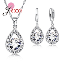 Romantic Women Lady Party Wedding Jewelry Sets 925 Sterling Silver Full Cubic Zirconia Water Drop Necklace Earrings Set