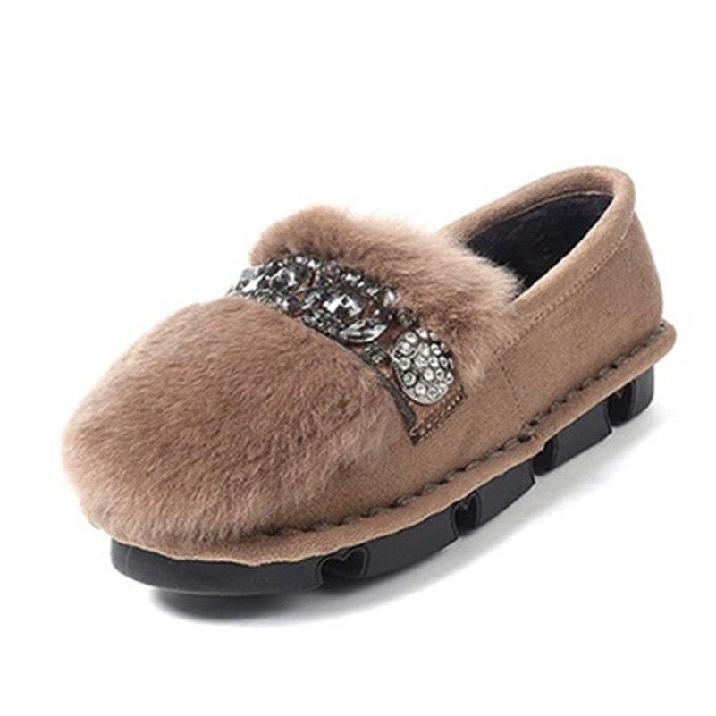 Mujeres Khaki Rhinestone Pieles Casual Plana Mocasines Moda Zapatos Animales Fedonas Nieve negro Otoño Conejo Invierno Felpa Caliente De HF1Cx