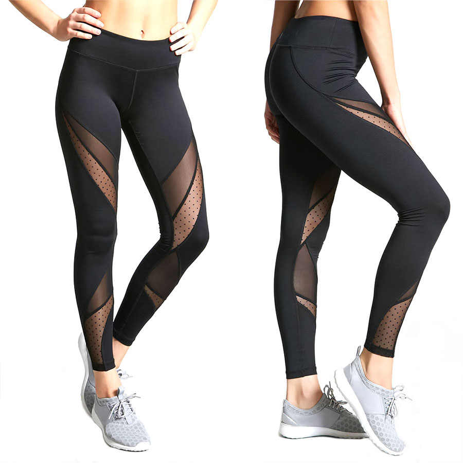 378349621fa2 Detail Feedback Questions about Hot Fashion Mesh Patchwork Leggings Women  Leggins Female Elastic Pant Capri Women Fitness Leggings Black KH906549 on  ...