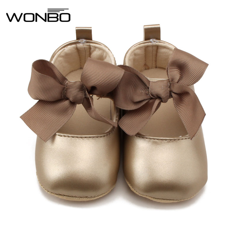 WONBO 0-18M Toddler Baby Girl Soft PU Princess Shoes Bow Bandage Infant Prewalker New Born Baby Shoes