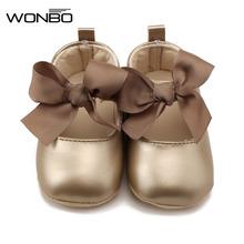 WONBO 0-18M Toddler Baby Girl Soft PU Princess buty Bow Bandage niemowlę Prewalker nowe narodzone Baby Shoes tanie tanio Dziecko First Walkers Płytkie Masz Wiosna jesień Dziewczynka Pasuje do rozmiaru Weź swój normalny rozmiar Klamra pasek