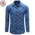 Camisa de Mezclilla de los hombres Nuevas Camisas de Vestir Camisas de Manga Larga Jeans Camisa de rayas y Chenked Clásico Moda Casual Tops de Lunares 080