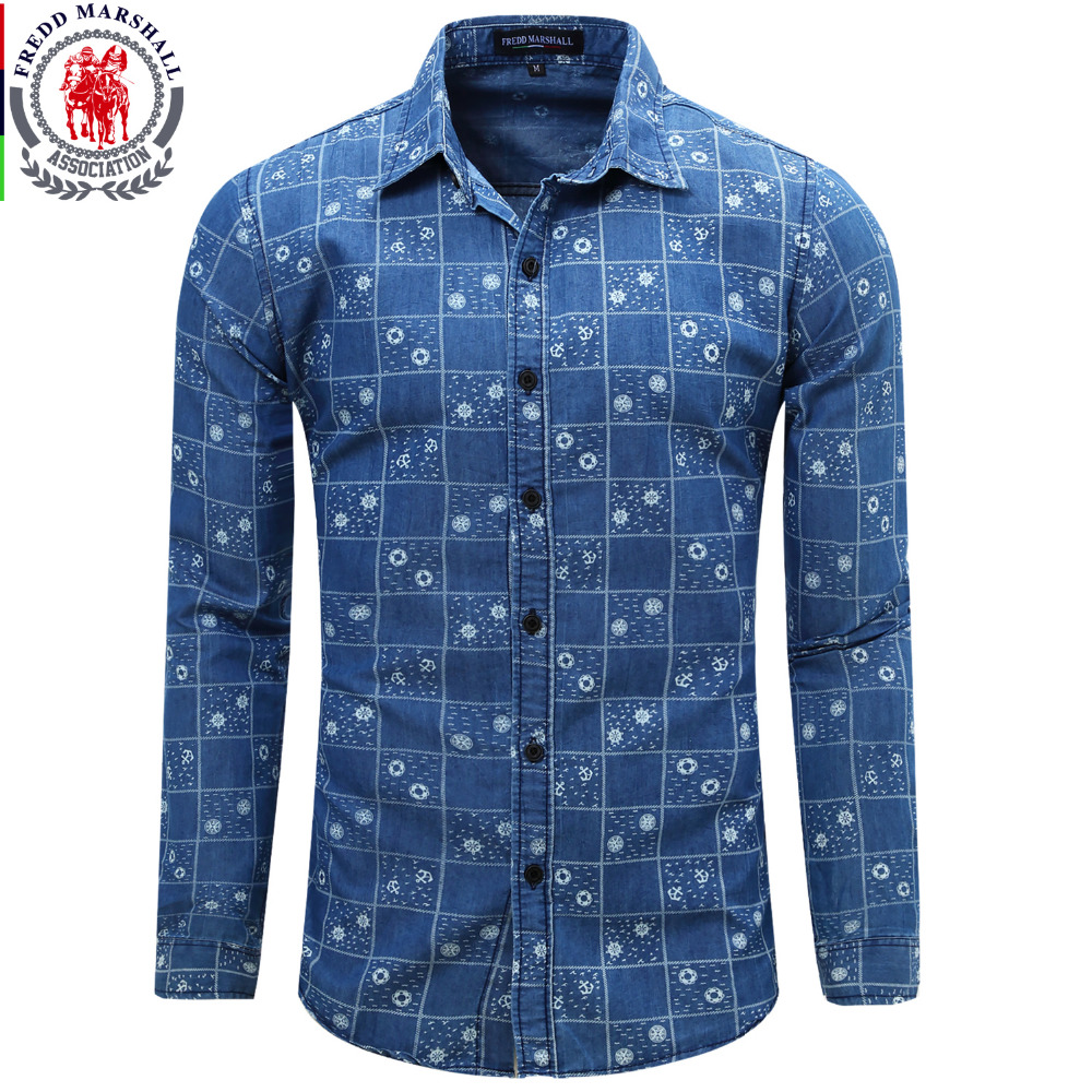 Men 39 s denim shirt new dress shirts male long sleeve jeans for Mens dress shirt sleeve length