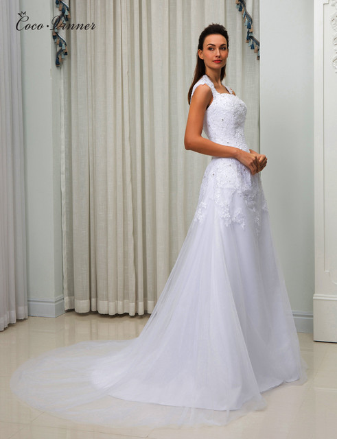 C.V Double Shoulder A line Country Wedding Dresses Botton back Court ...