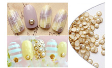 1000PCS 4mm pearl White Pearl Rivet Mini Gems with Gold 3D Nail Art Flatback Bling Resin Acrylic Flat back,YT&2121201