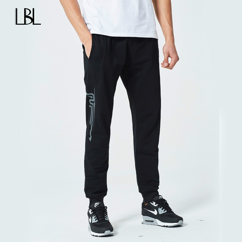 Fitness Workout Pants Skinny Sweatpants Fashion Print Trousers Mens Jogger Pants 2018 Men Gyms Pants Casual Elastic cotton Mens