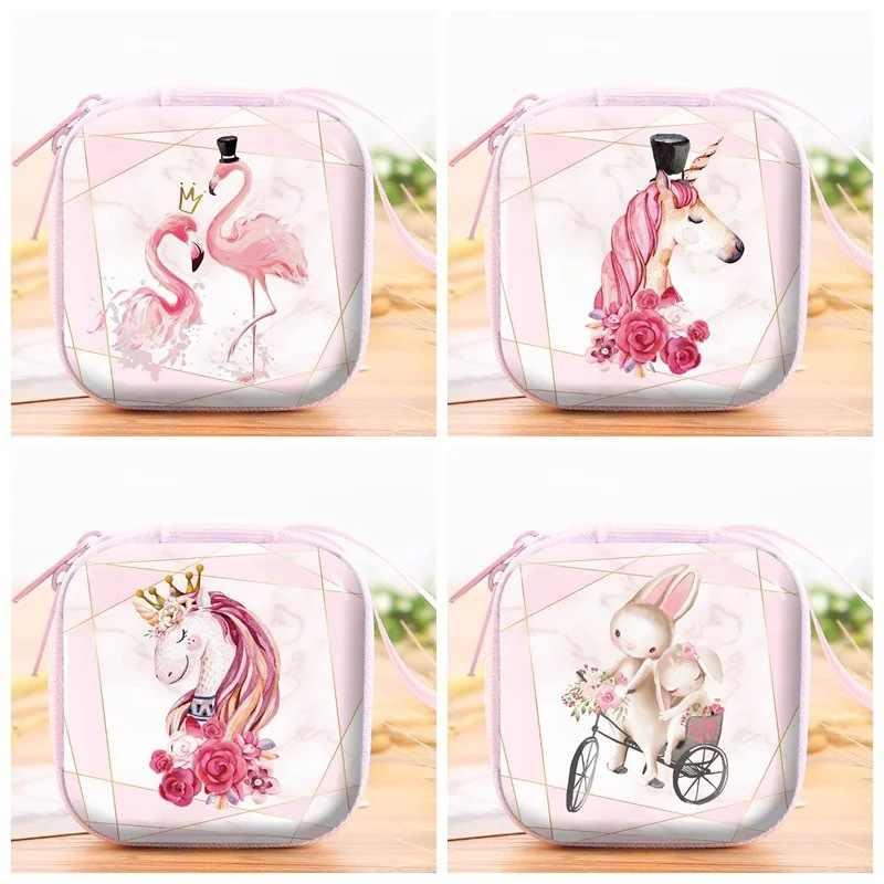 Mulheres Flamingo Unicórnio Bolsa Da Moeda Carteira Pequena Saco de Fone De Ouvido Crianças Meninas Mudar Bolsa Mini bolsa Com Zíper Moeda Chave Bolsa De Linha Fone de Ouvido