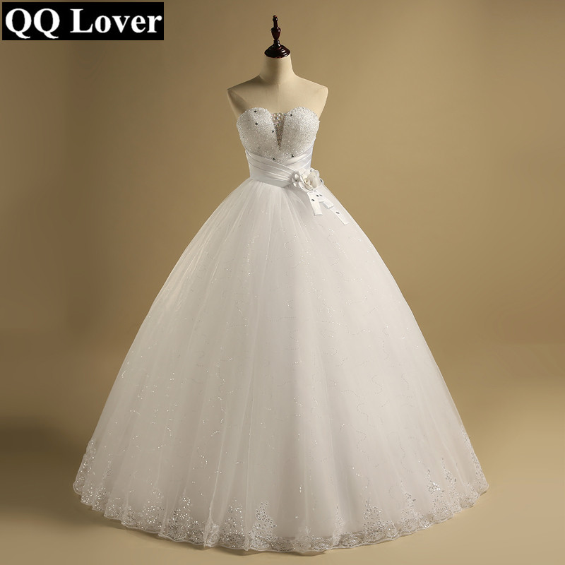 QQ Lover Sexy Tube Top Royal Lace Up Ball Gown Wedding