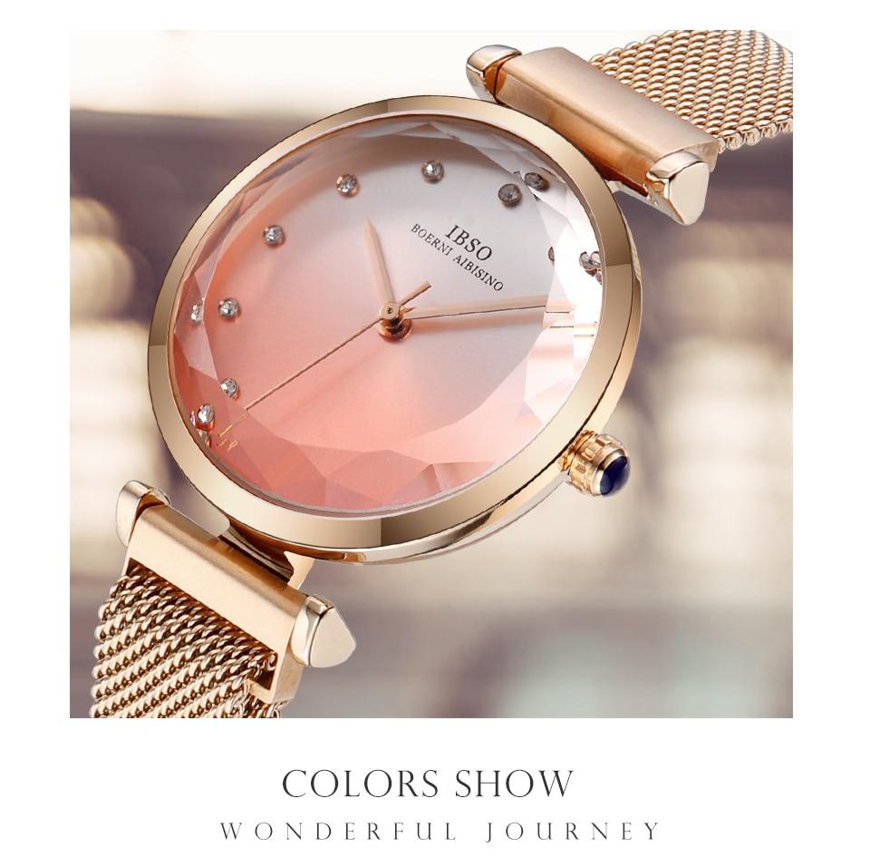 Fashion Women Hit Color Watches Female Cut Glass Design Quartz Watch Magnet Buckle 4