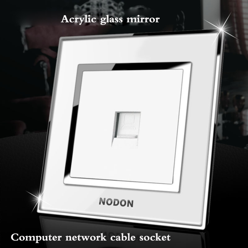 Acrylic glass mirror switch broadband network socket panel 1Gang computer network cable  ...