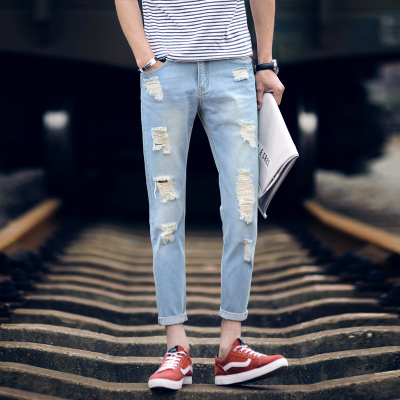 points thin jeans mens cultivate morality mens trousers han edition feet 9 minutes pants harlan beggar pants men