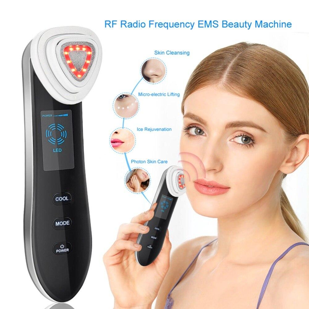 RF częstotliwości radiowej maszyna do mycia twarzy z przenośny EMS piękno dla odmłodzenie skóry usuwanie zmarszczek napinania skóry Anti Aging maska terapii w Przyrządy do pielęgnacji skóry twarzy od Uroda i zdrowie na  Grupa 1