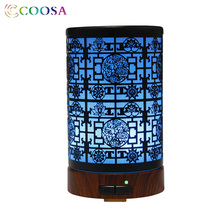 COOSA Vintage Air Humidifier 100ml Aroma Ultrasonic Hand Carved Metal Diffuser Waterless Auto-off Cool Mist maker