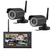 "2.4G 4CH QUAD DVR Security CCTV Camera System Digital Wireless Kit Baby Monitor 7"" TFT LCD Monitor+ 2 Cameras"