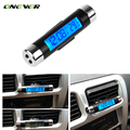 Onever 2 in 1 Car Thermometer Time Clock Mounted On Air Vent Outlet Digital LED Screen Automotive Clock and Calendar Display