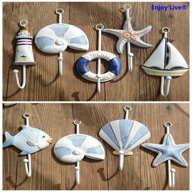 10pcs/set Mediterranean Style Single Hook Hat Coat Clothes Towel Robe Hooks  Nautical Bath Wall