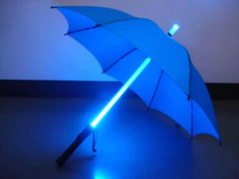New Super Cool Star Wars Blade Runner LED Lightsaber Light Up Rain Sun Protective Umbrella With Mini Torch Colorful Light