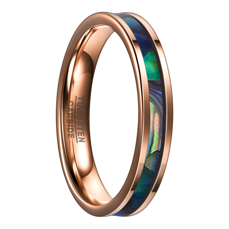 Unisex 4mm rose gold inlaid abalone shell tungsten ring 1