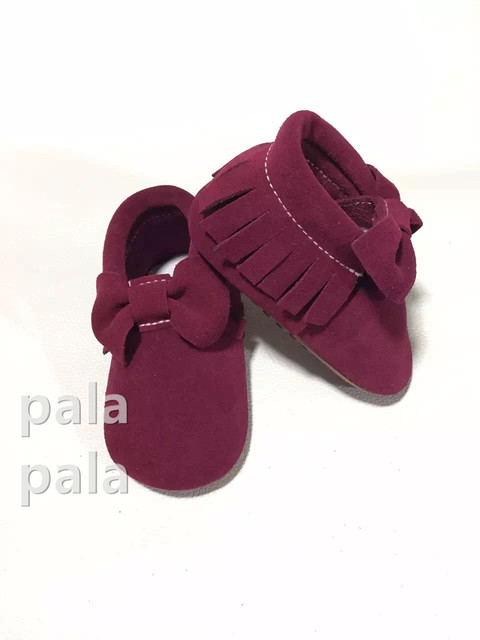 2016 Spring New Suede butterfly-knot moccasins rubber sole Cow Genuine leather Prewalker Newborn Baby girl princess Infant shoe