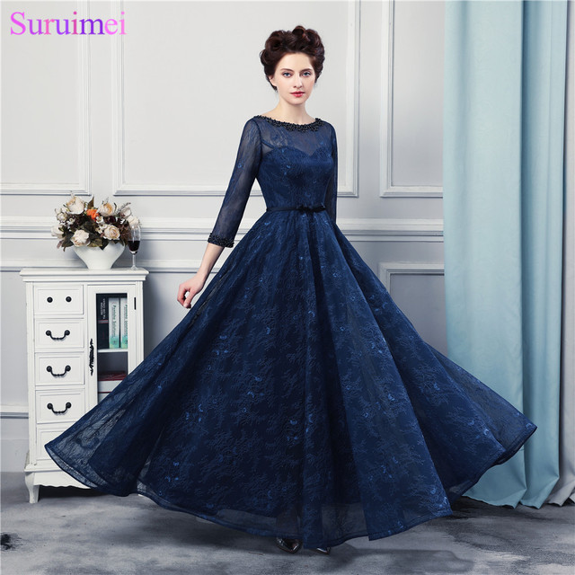 2017 New Design Navy Blue Long Evening Dresses High Quality Lace ...