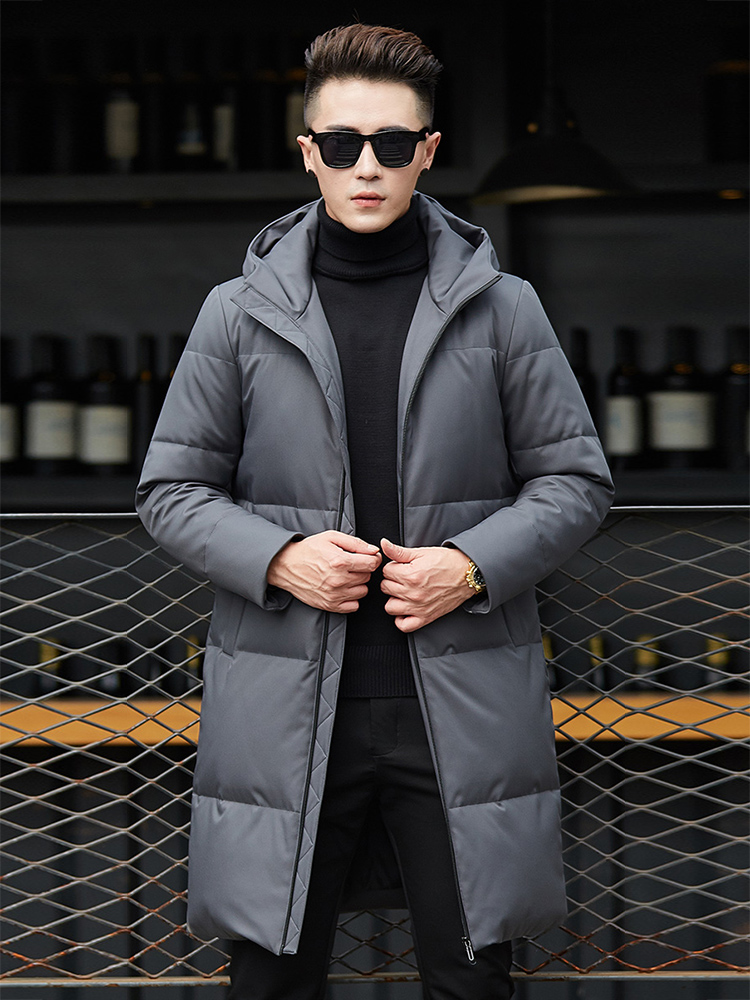 2019 New Arrival Men   Down   Jacket Hooded Winter   Down     Coat   Warm Mens Parka 70%White Duck   Down   Long   Coat   Fashion Winter   Coat   Men