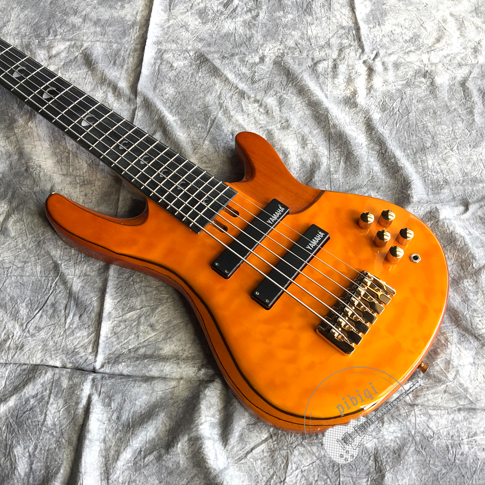 Free delivery, new high quality electric guitar, corrugated yellow body, six string bass, gold hardware, customizable.