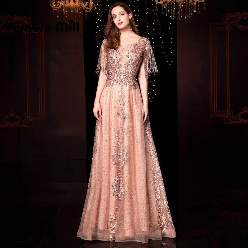 Le nouveau Design rose col en v Sexy robes de bal a-ligne perles broderie creux paillettes paillettes étincelle robes de bal S-3XL