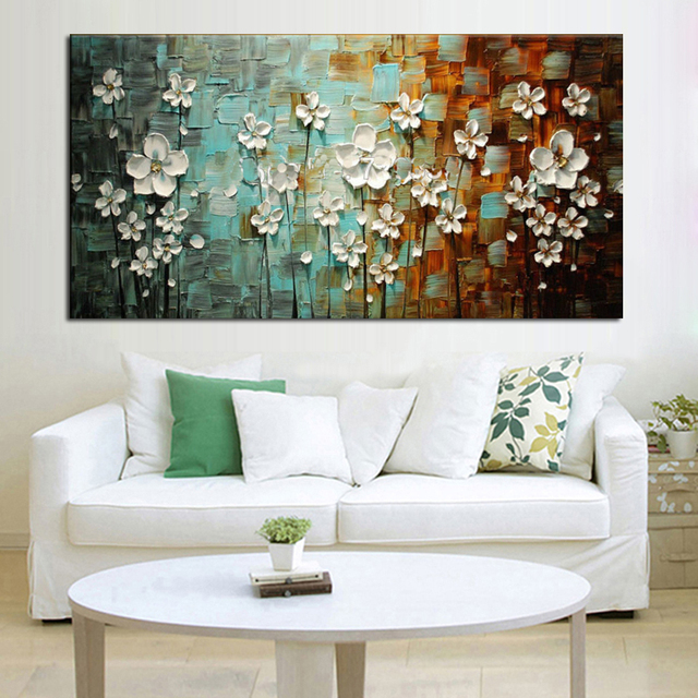 Handmade Abstract Beautiful White Flower Tree Oil Painting On Canvas Flower  Picture Wall Art Home Decor