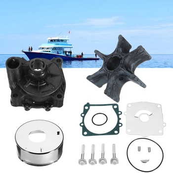 Marine Outboard Water Pump Impeller Housing Repair Kit for Yamaha 61A-W0078-A1 Rubber+Metal 6 Blades Diameter 89mm Boat Parts