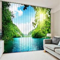 Luxury 3D Window Curtain living room landscape curtains for living room bedroom Polyester Set with Hooks