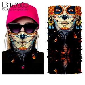 Pañuelo de calavera sin costuras para hombre y mujer, pasamontañas de tubo, máscara para el cuello, bufanda para motocicleta, bicicleta, caza, Bandana para exteriores, 2018