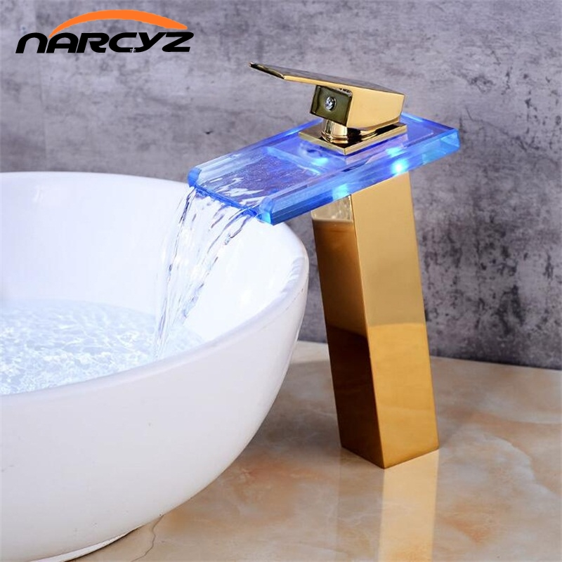 New European Gold/Black basin faucet bathroom LED waterfall faucet wash basin hot and cold copper faucet Bathroom faucet A1015New European Gold/Black basin faucet bathroom LED waterfall faucet wash basin hot and cold copper faucet Bathroom faucet A1015