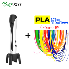 BAPASCO 3D pen bp-07 with 1.75mm abs filament kids diy drawing pen 3D molding,5V 2A usb adapter,oled display creative education